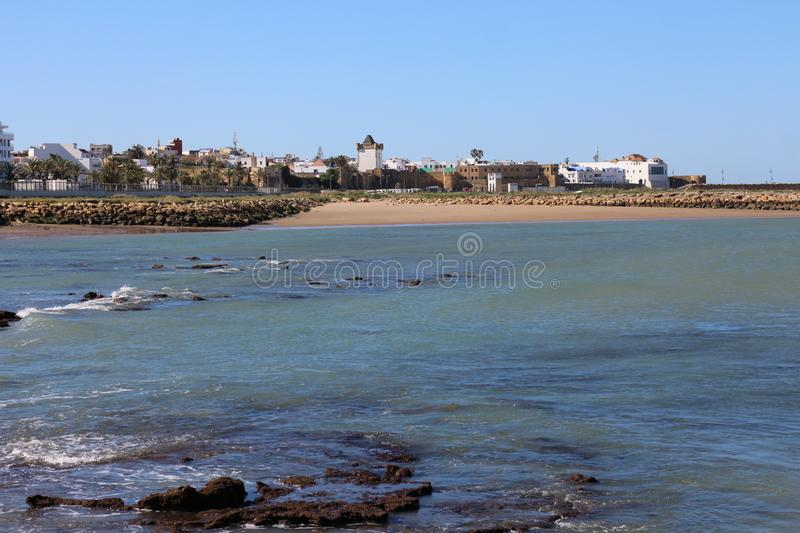 Asilah beach in the cost of morocco. Konwn as traditional fishing stock image