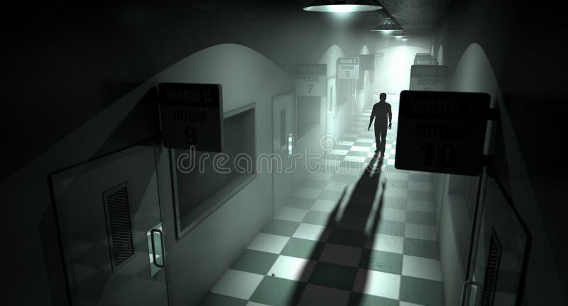Asile mental avec la figure fantomatique photographie stock libre de droits