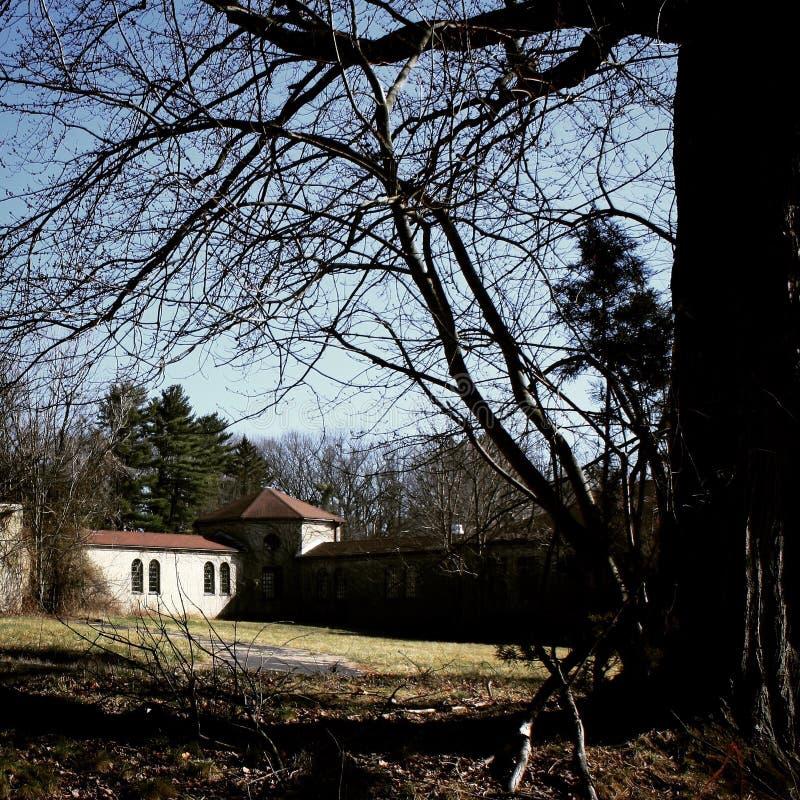Asilo abandonado quadro com árvores foto de stock