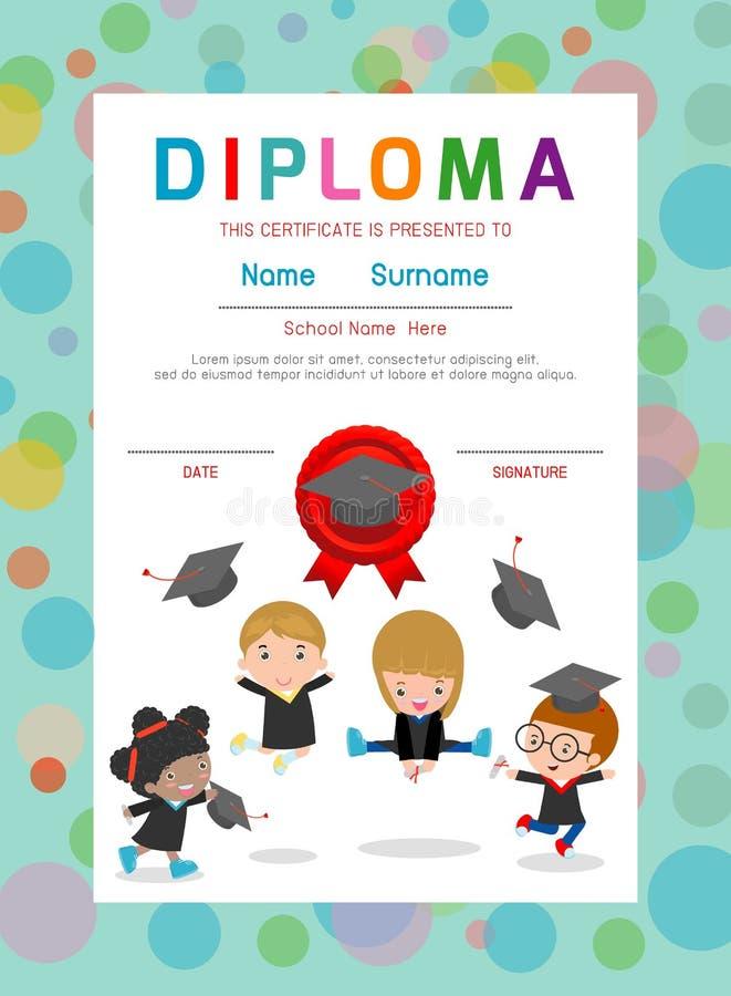 Asilo dei certificati ed elementare, modello di progettazione del fondo del certificato del diploma dei bambini della scuola mate royalty illustrazione gratis