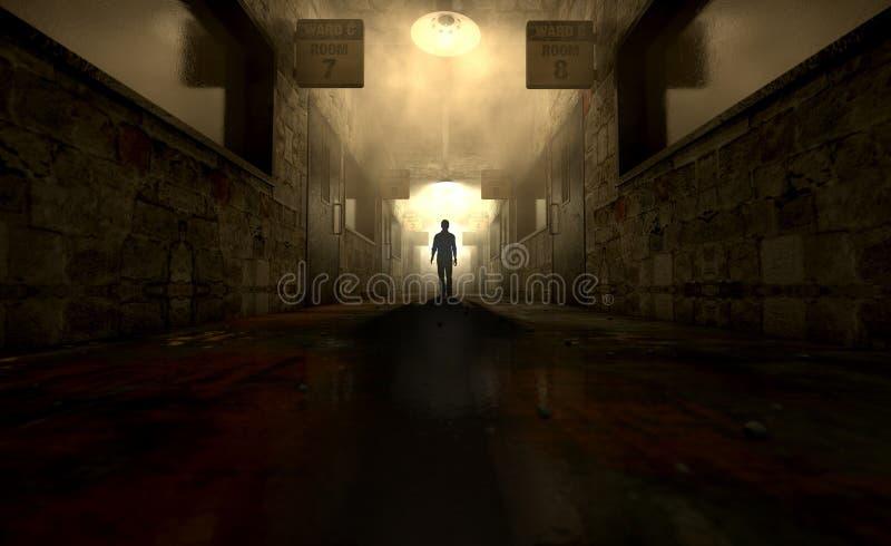 Asilo mental con la figura fantasmal imagen de archivo libre de regalías