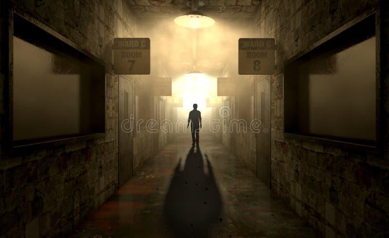 Asilo mental con la figura fantasmal fotos de archivo libres de regalías