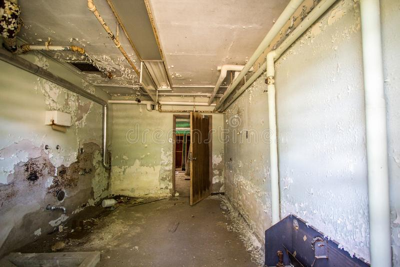 Asilo transversal abandonado del hospital de Michigan de la ciudad fotos de archivo