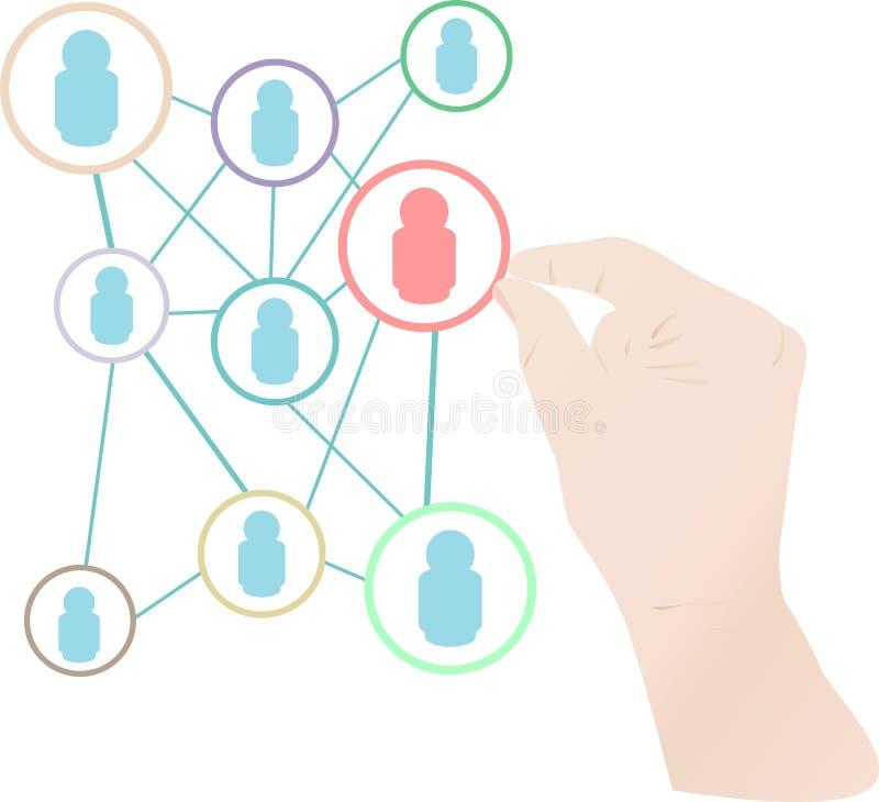 Asimiento de la mano de la mujer la nube social del concepto de la red ilustración del vector