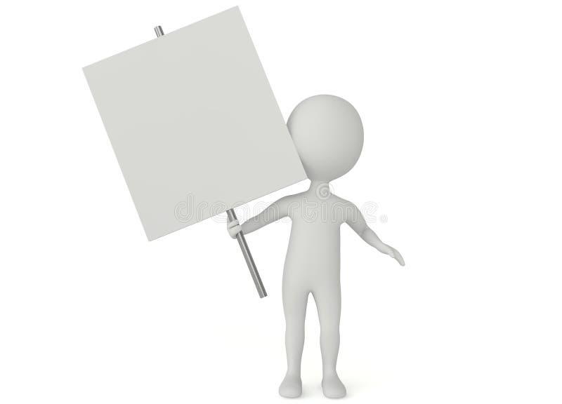 asimiento del carácter del humanoid 3d un tablero en blanco stock de ilustración