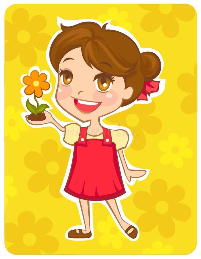 Asimiento respetuoso del medio ambiente de la muchacha una flor stock de ilustración