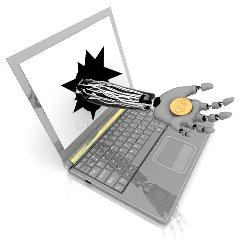 Asimiento robótico de la mano una moneda libre illustration