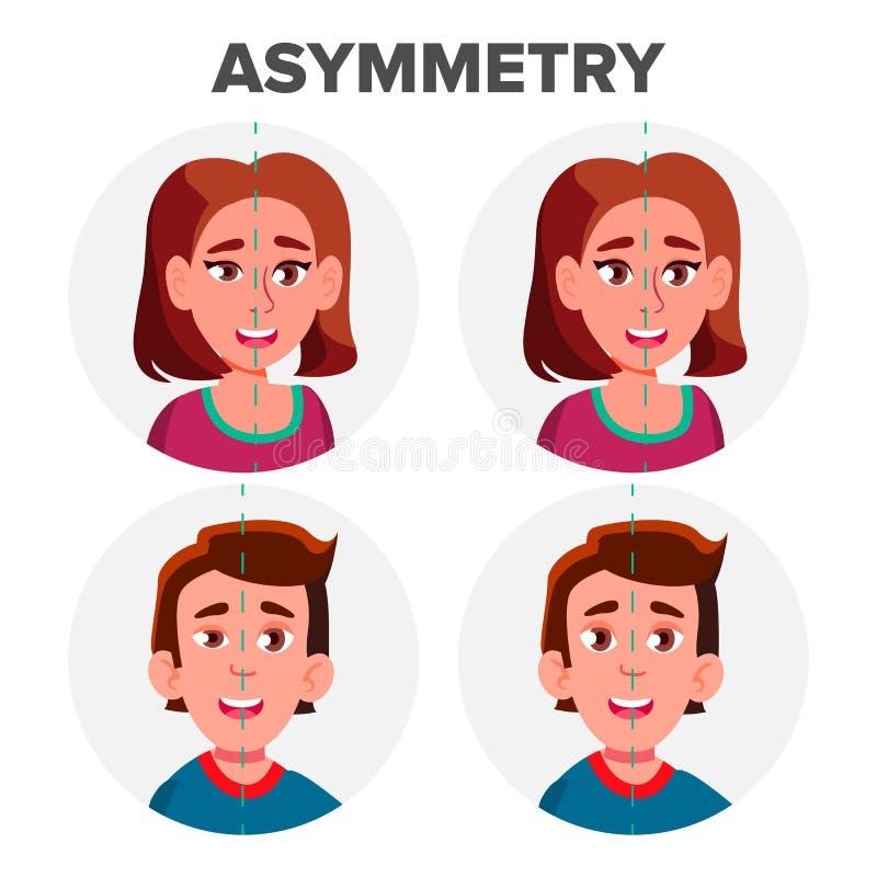 Asimmetria degli occhi del vettore dell'uomo e della ragazza del carattere illustrazione vettoriale