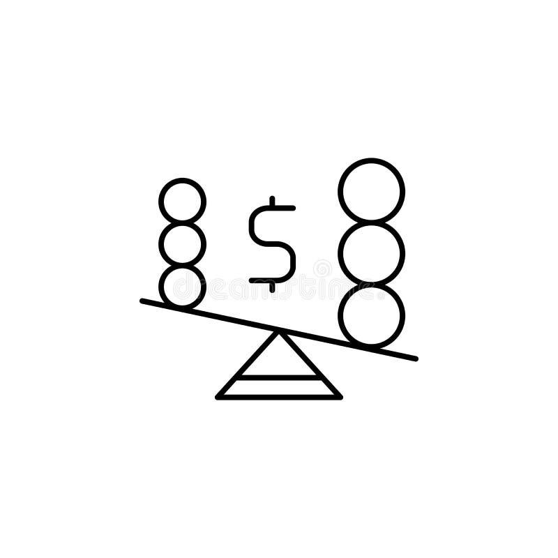 Asimmetria, icona di sbilanciamento Icona elemento di business Icona linea sottile illustrazione vettoriale
