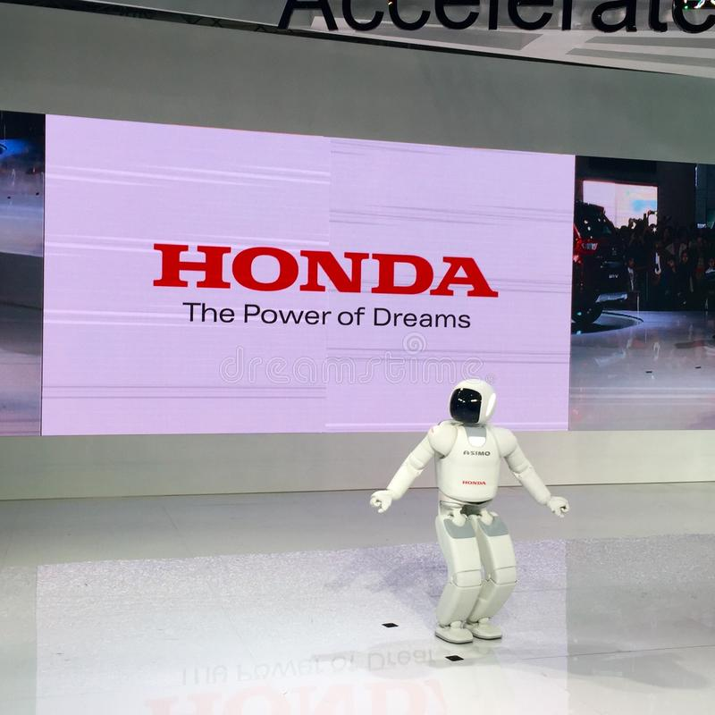ASIMO Robot at Auto Expo 2016, Noida, India. ASIMO Robot was featured at the Auto Expo 2016, Noida, India. ASIMO, an acronym for Advanced Step in Innovative stock photography