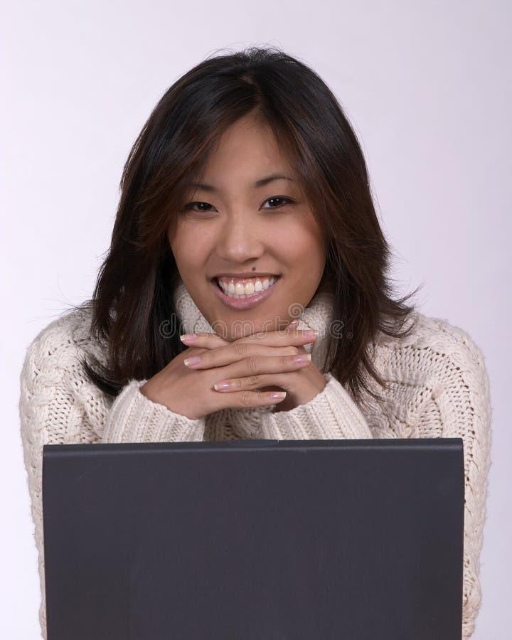 Asina woman at computer royalty free stock image
