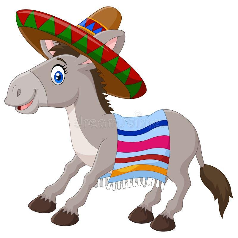 Asino messicano che indossa un sombrero e una coperta variopinta Isolato su priorità bassa bianca illustrazione di stock