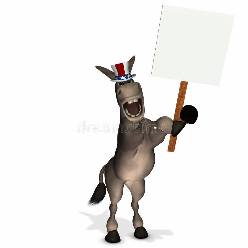 Asino politico con il segno in bianco royalty illustrazione gratis