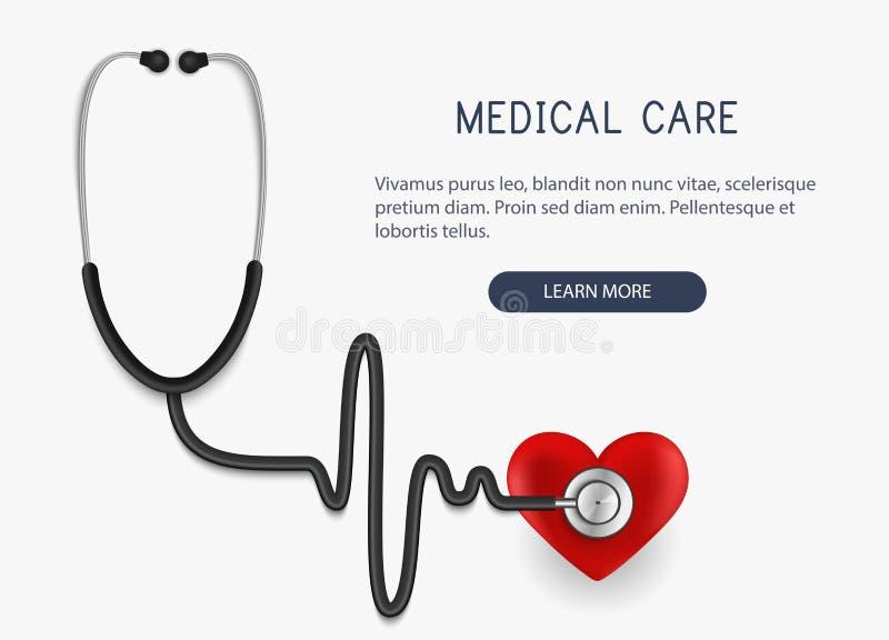 Asistencia médica Icono y corazón realistas del estetoscopio Ilustración del vector ilustración del vector
