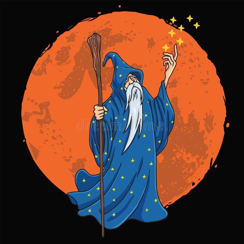 Asistente con caricatura de diseño de ropas azules y estáticas con ilustración vectorial de fondo lunar libre illustration