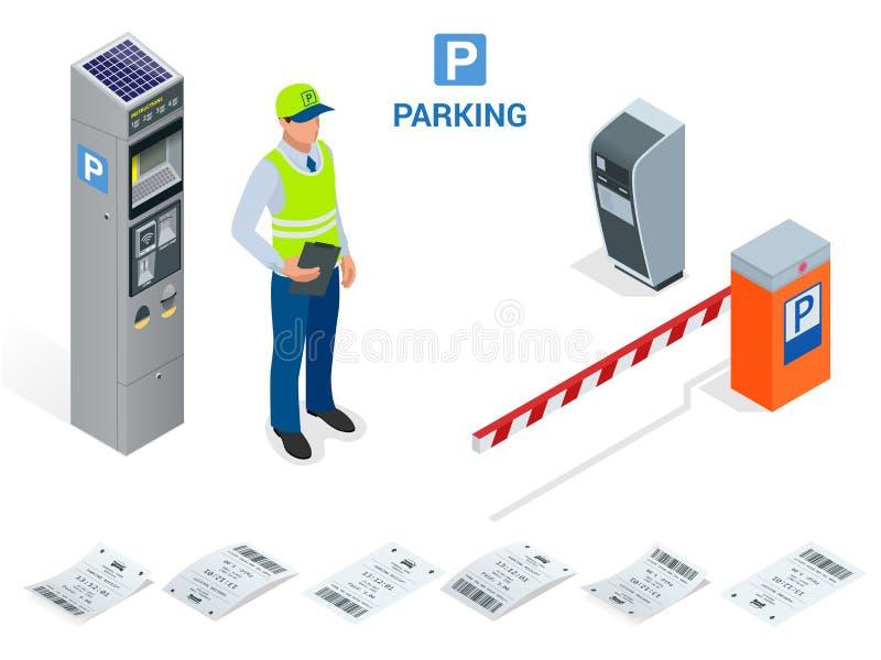 Asistente de estacionamiento isométrico Las máquinas de la multa de aparcamiento y los operadores del brazo de la puerta de la ba ilustración del vector