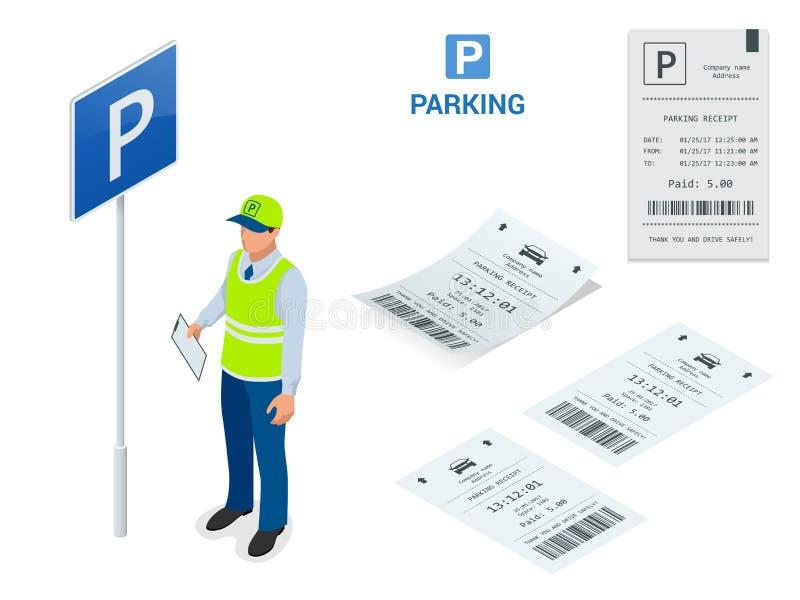 Asistente de estacionamiento isométrico Las máquinas de la multa de aparcamiento y los operadores del brazo de la puerta de la ba libre illustration