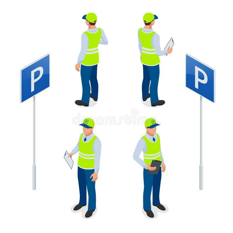 Asistente de estacionamiento isométrico Trafique al encargado, consiguiendo la multa de aparcamiento o la multa de aparcamiento m ilustración del vector