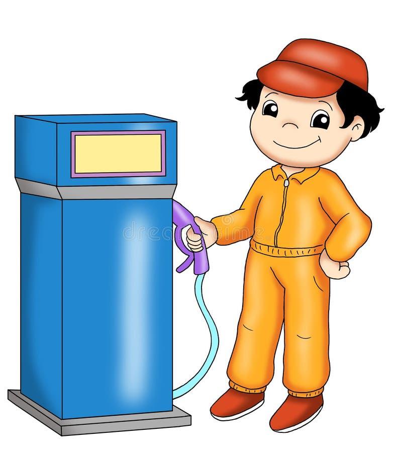 Asistente de gasolinera ilustración del vector