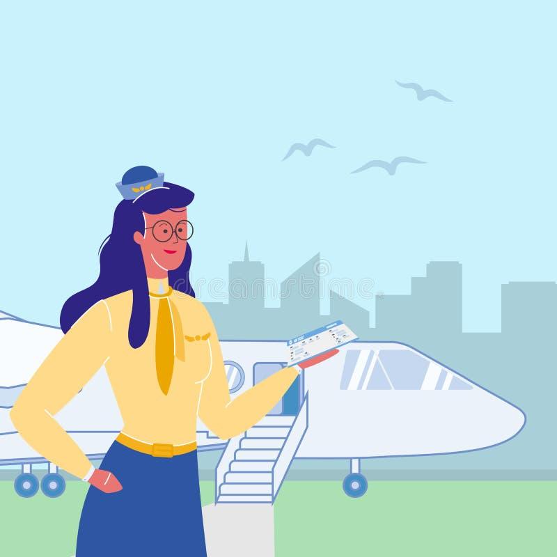 Asistente de vuelo, azafata Flat Illustration stock de ilustración