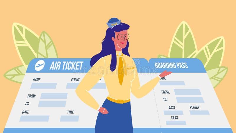 Asistente de vuelo, azafata Vector Illustration ilustración del vector