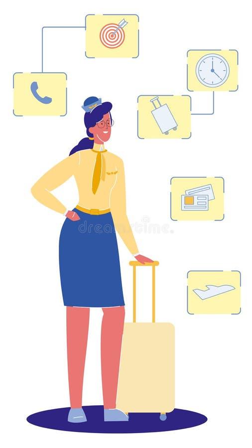 Asistente de vuelo con el ejemplo del vector de la maleta libre illustration