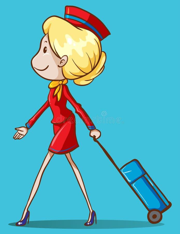 Asistente de vuelo con equipaje stock de ilustración