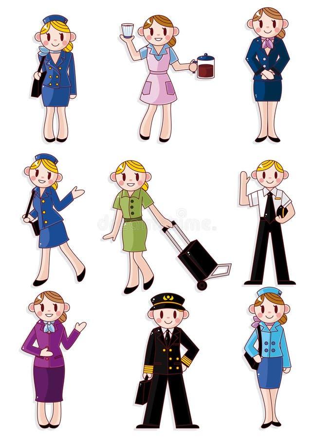 Asistente de vuelo de la historieta/icono experimental stock de ilustración