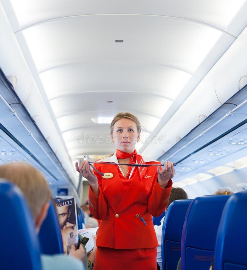 Asistente de vuelo en el trabajo foto de archivo
