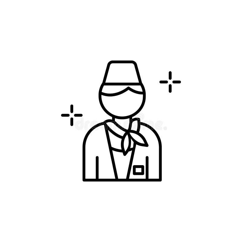Asistente de vuelo, icono del aeropuerto Elemento de la línea icono del aeropuerto del color stock de ilustración