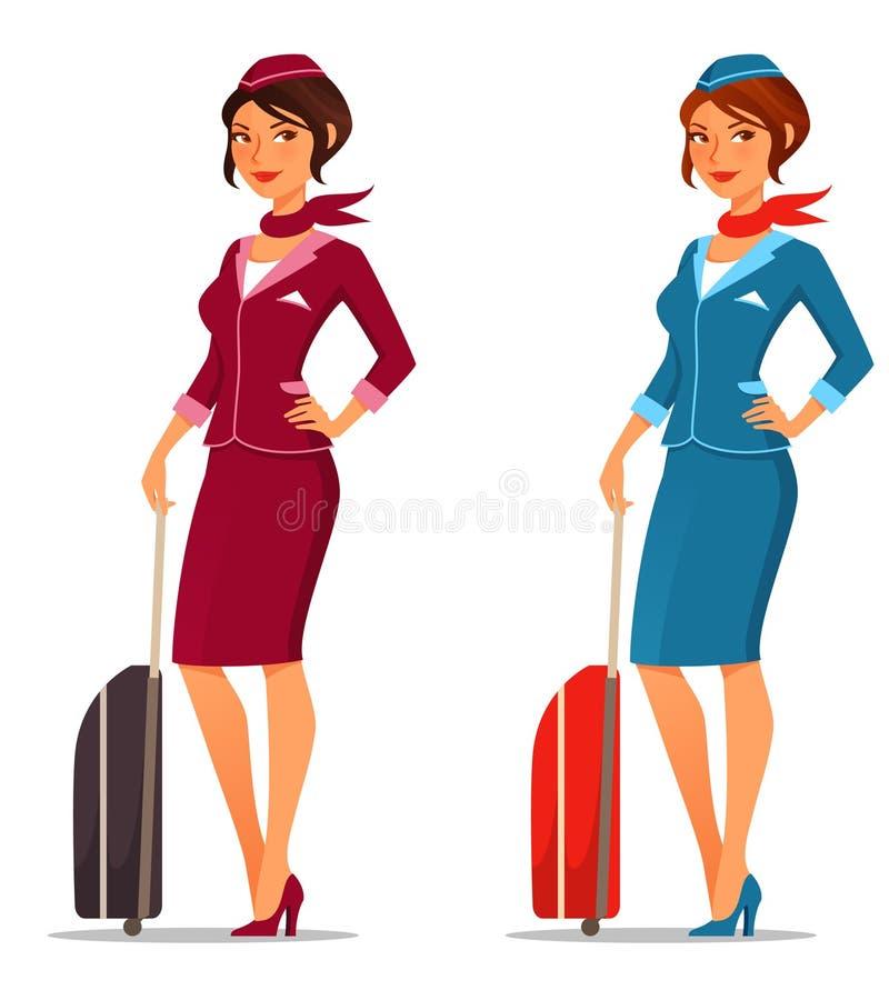Asistente de vuelo lindo con la maleta libre illustration
