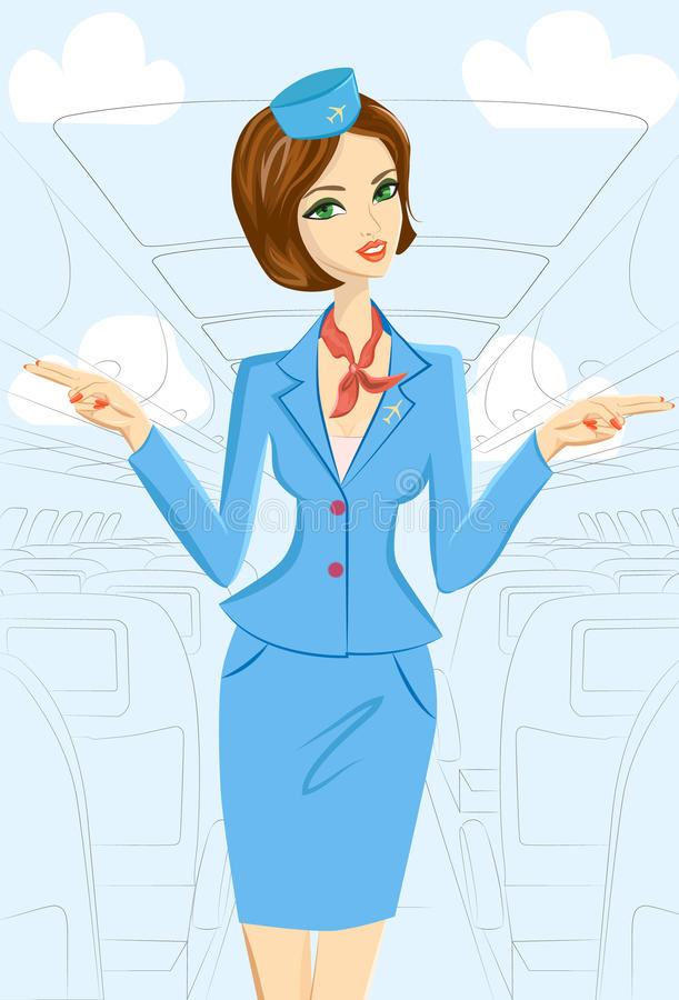 Asistente de vuelo sonriente Showing Emergency Exits en el avión stock de ilustración