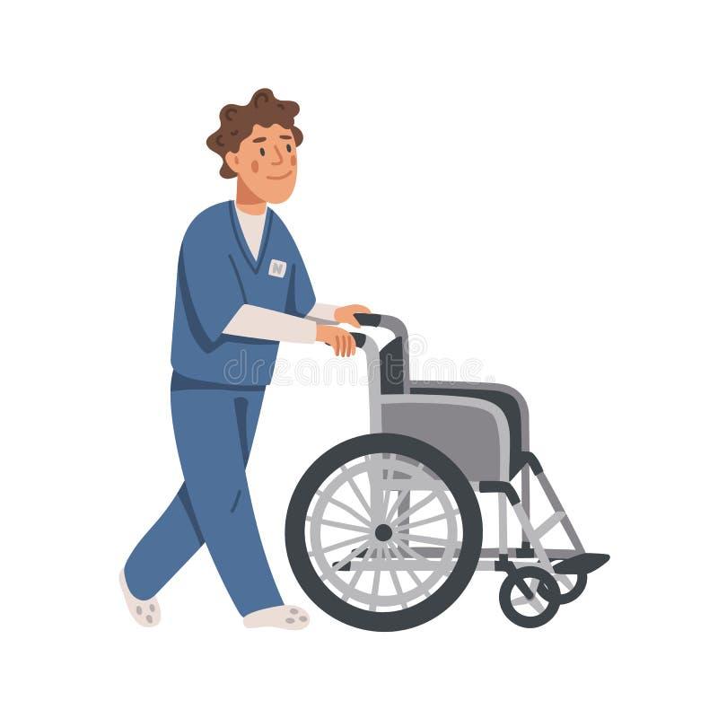 Asistente social o enfermera de sexo masculino que empuja la silla de ruedas vacía Cl?nica de reposo Ejemplo plano del vector de  ilustración del vector