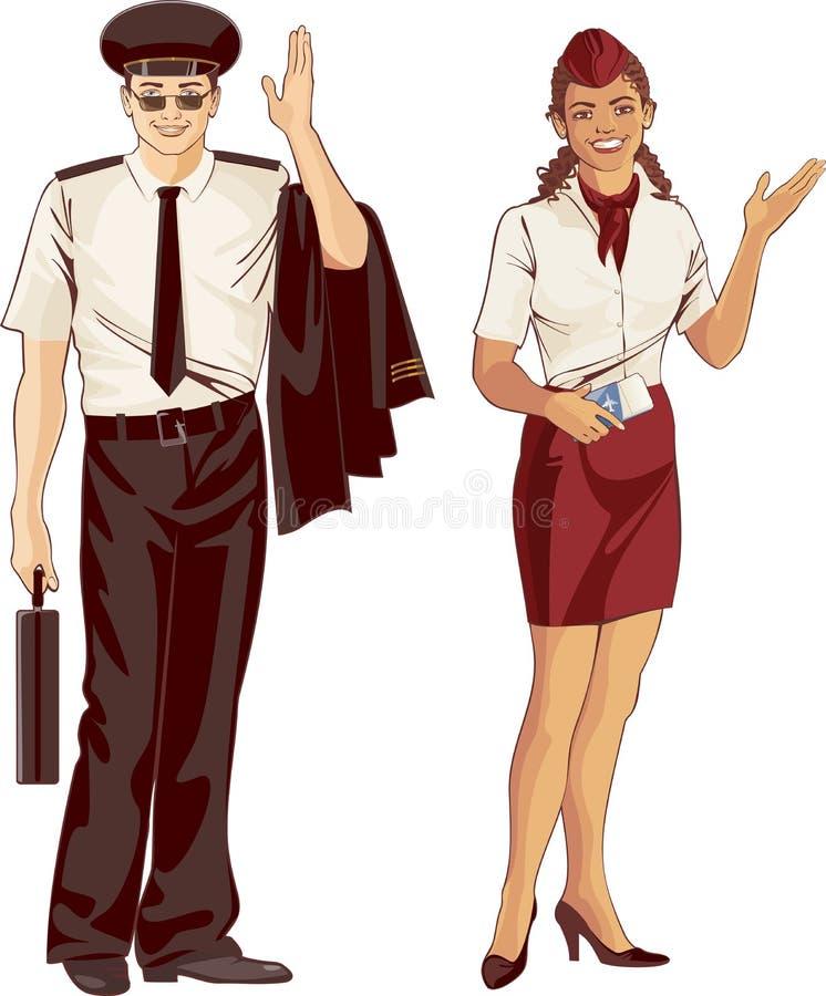 Asistente y piloto de vuelo ilustración del vector