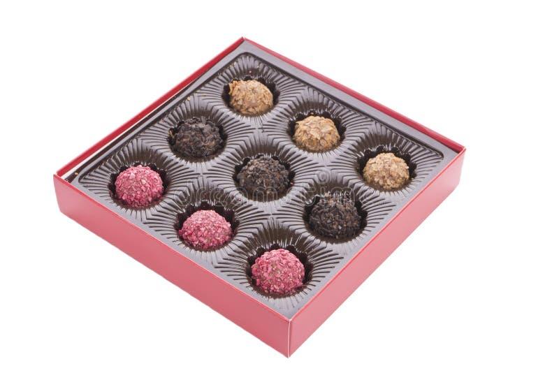 Ask av chokladtryffeln med bränd mandel royaltyfri bild