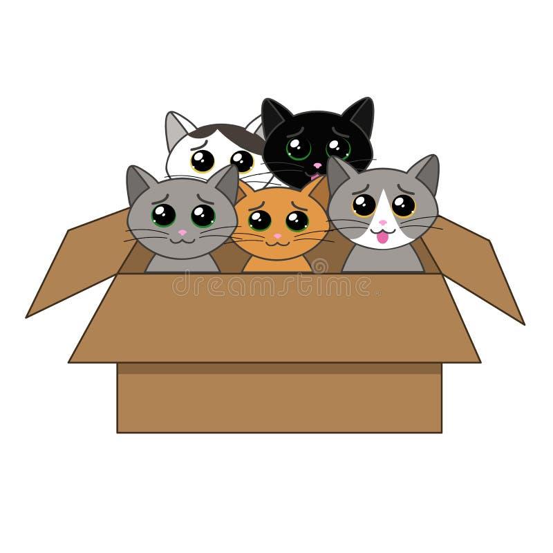 Ask av kattungar royaltyfri illustrationer