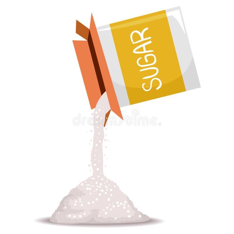 Ask av Sugar Pouring royaltyfri illustrationer