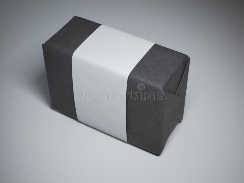 Ask av svartpapper med den vita etiketten royaltyfria foton