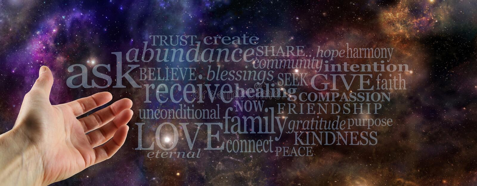 Ask Believe Receive Word Cloud royalty free stock photos