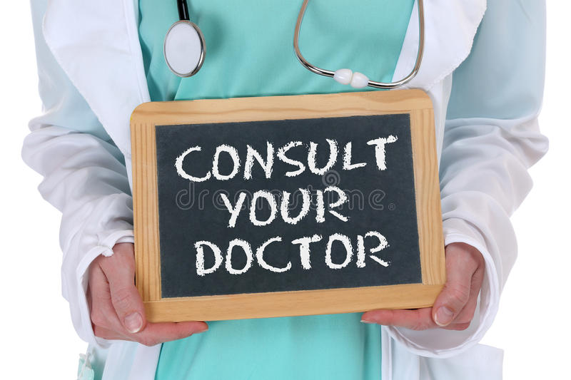 Ask consult your doctor ill illness healthy health check-up screening. With sign stock image