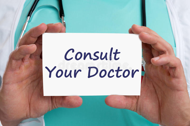 Ask consult your doctor ill illness healthy health check-up screening. With sign royalty free stock photography