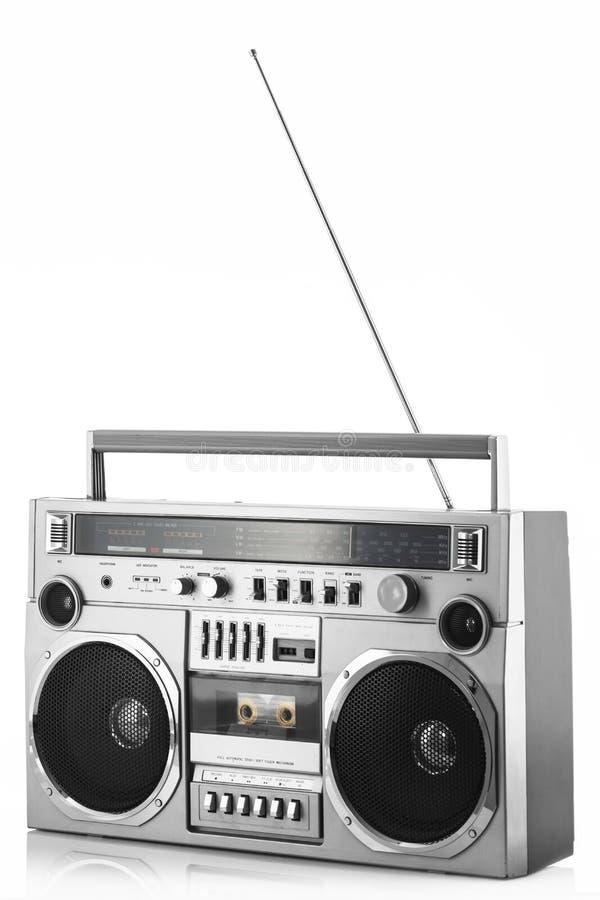 ask för bang för radio för 80-talsilver retro med antennen som isoleras upp på wh arkivbild