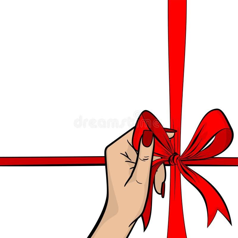 Ask för gåva för band för håll för hand för kvinna för popkonst röd vektor illustrationer