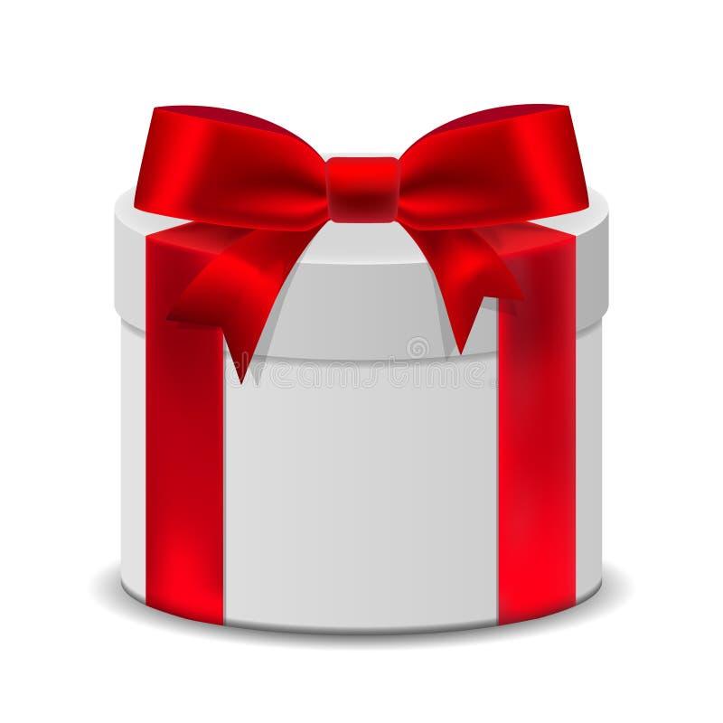 ask för gåva 3D med ett rött band för födelsedagberöm, Christma stock illustrationer