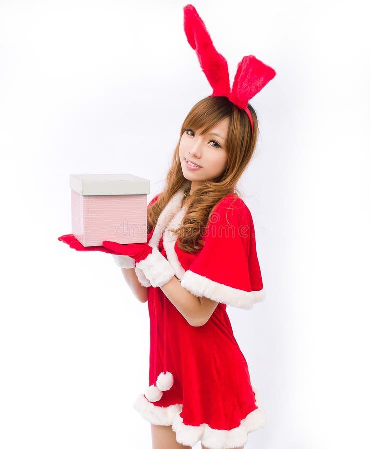 Ask för gåva för japansk stil för julkaninflicka arkivbild