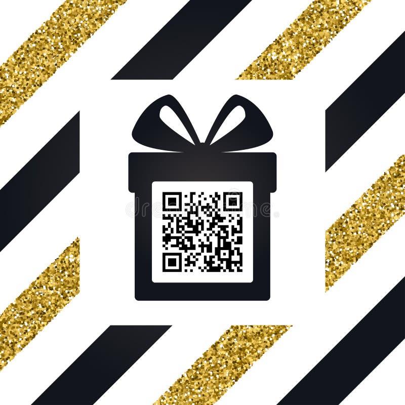 Ask för glad jul och för lyckligt nytt år gåvamed pilbågen och hälsningar symbol svart white Kod för vektor QR Gåvaask med en bow stock illustrationer