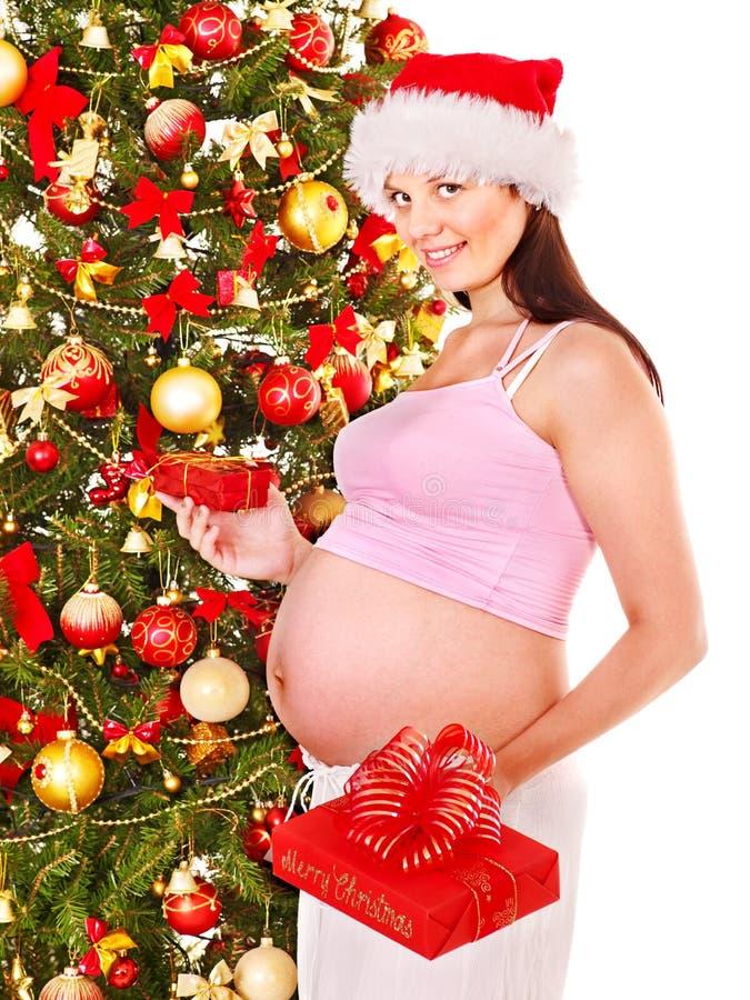 Ask för gravid kvinnaholdingjul. arkivbild