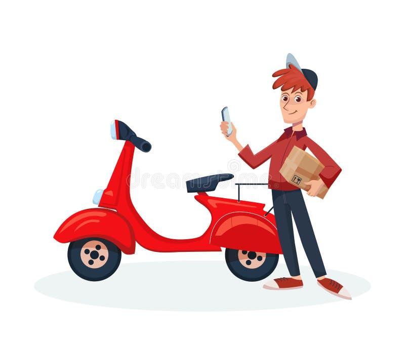 Ask för jordlott för mobiltelefon och för papp för innehav för leveransman i hans händer Snabb hemsändning med kuriren och sparkc stock illustrationer
