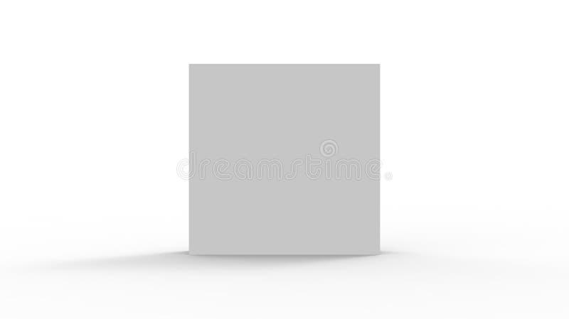 ask för kub 3d att framföra på isolerad bakgrund för modell och mall för produktpackedesign royaltyfri illustrationer