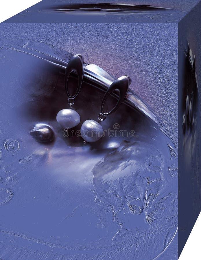 Ask för kvinnors örhängen med en bild av pärlor i en vas Bakgrund illustration 3d vektor illustrationer